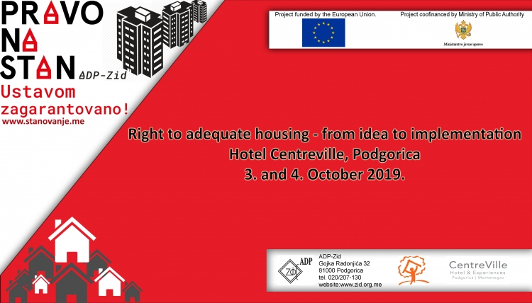 Conference on the right to adequate housing, 3-4 October, Podgorica - Save the date!